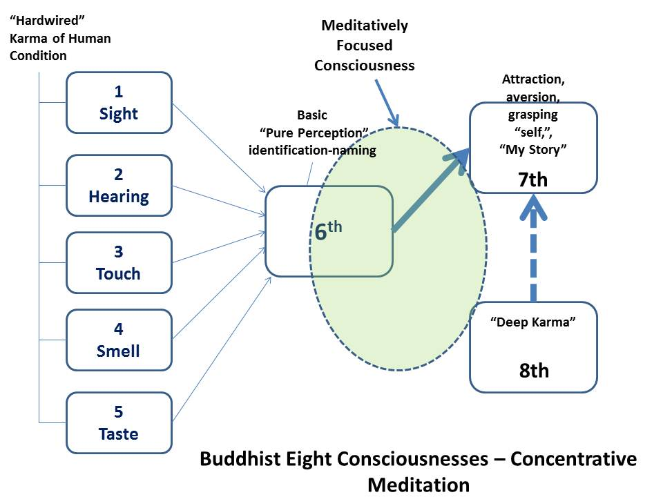 Buddhist Eight Consciousnesses and Concentrative Meditation