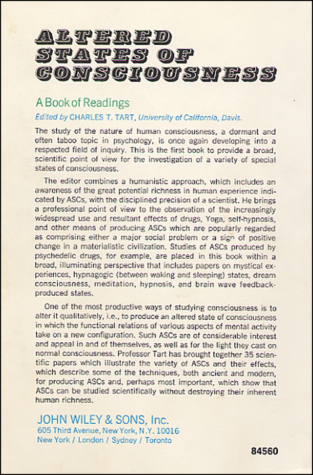 Altered States of Consciousness by Charles T. Tart (book cover back)