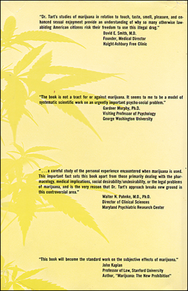 On Being Stoned: A Psychological Study of Marijuana Intoxication. (book cover back)