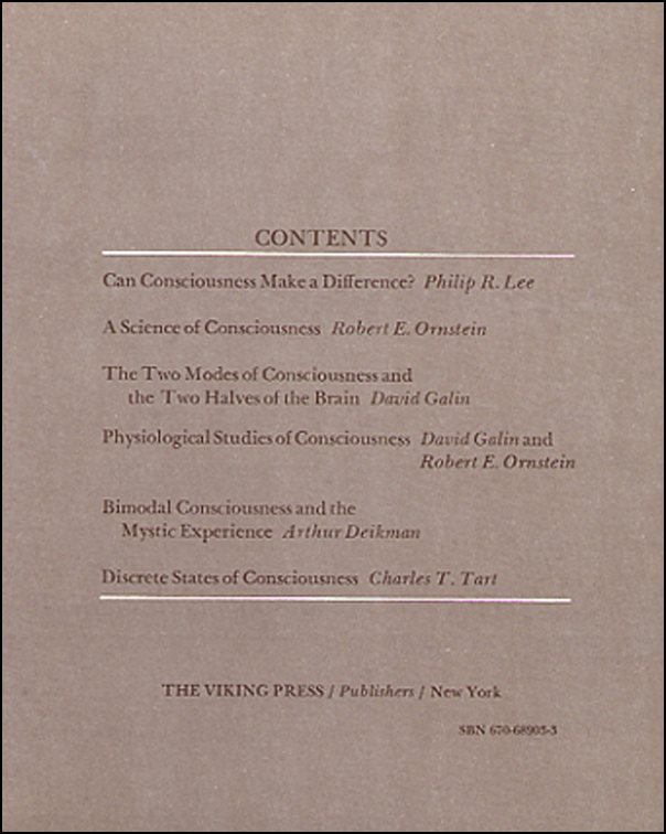 Symposium on Consciousness (book cover back)