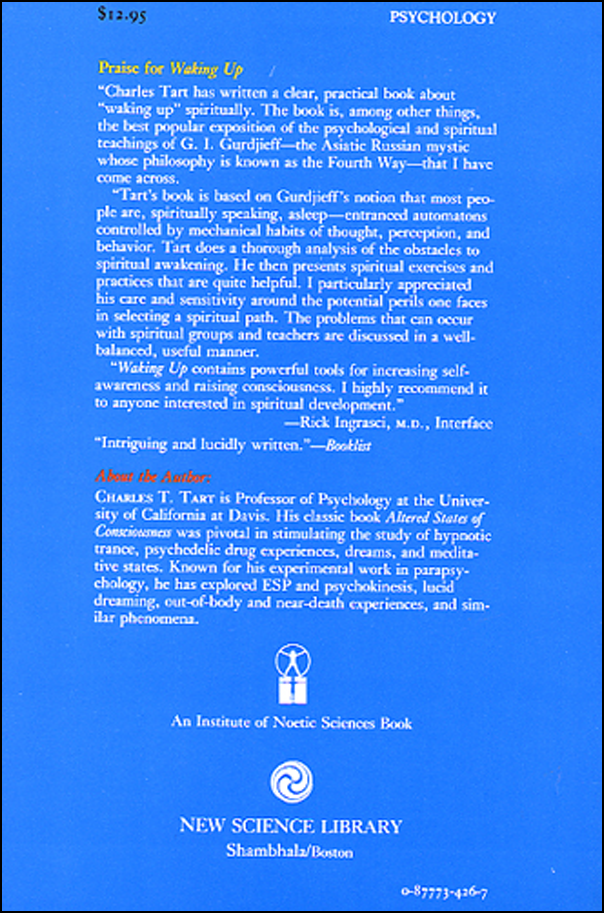 Waking Up: Overcoming the Obstacles to Human Potential (book cover back)
