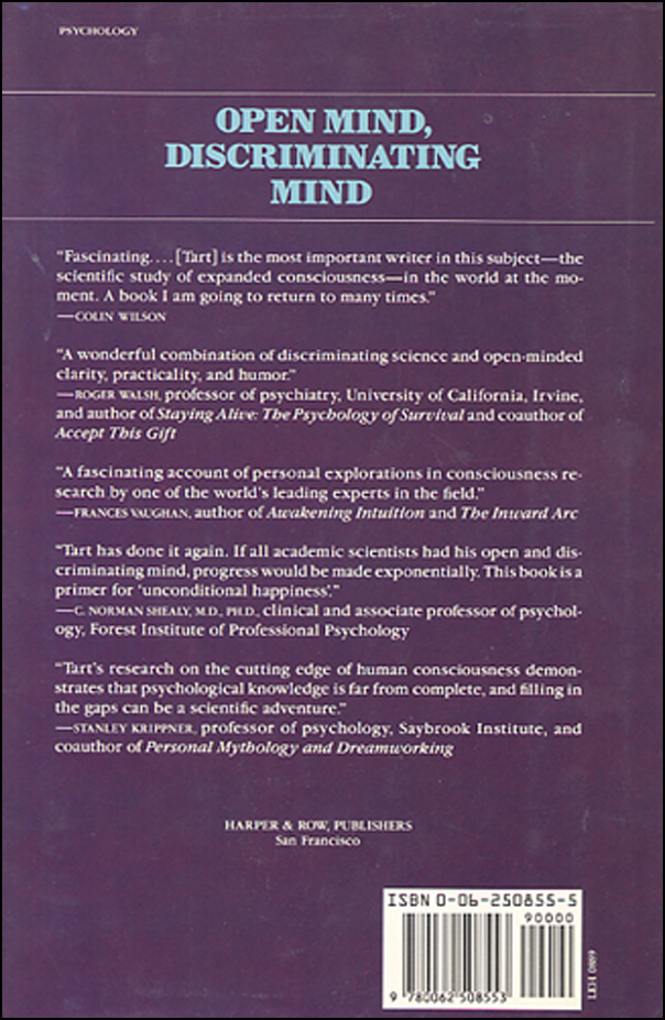 Open Mind, Discriminating Mind: Some reflections on Human Possibilities (book cover back)
